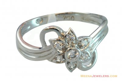 18K Fancy Delicate Floral Ring ( Ladies White Gold Rings )
