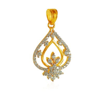22K Gold CZ Pendant  ( Fancy Pendants )