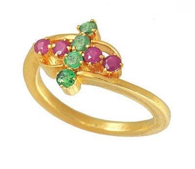 Gold Ring with Ruby and Emerald ( Ladies Rings with Precious Stones )