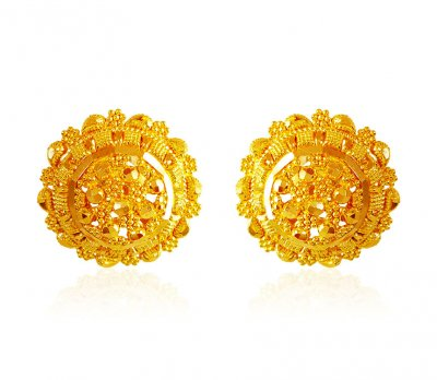 22kt Gold Round Earrings ( 22 Kt Gold Tops )