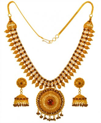 22KT Gold Necklace Earrings Set ( Precious Stone Sets )