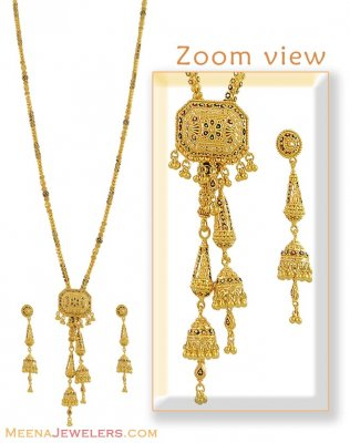 22Kt Long Necklace Set ( Bridal Necklace Sets )