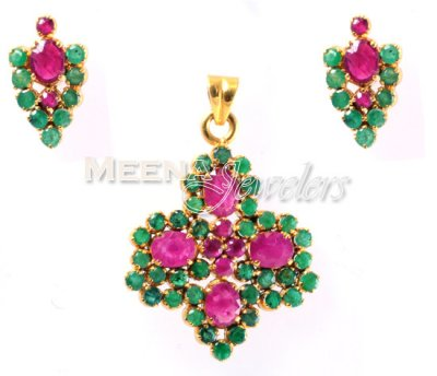 22Kt Gold Emerald, Ruby Pendant Set ( Precious Stone Pendant Sets )