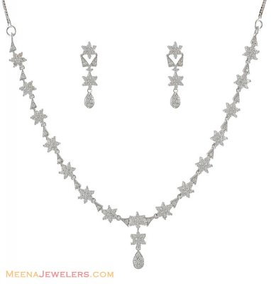 Fancy White Gold Necklace Set ( White Gold Sets )