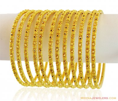 22K Yellow Gold Bangles Set  ( Set of Bangles )