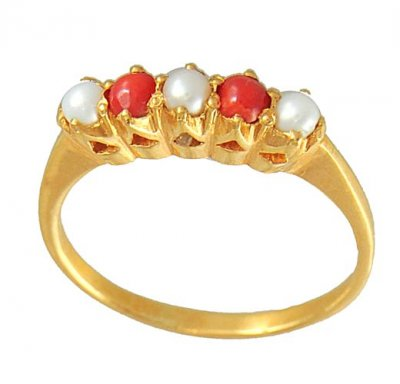 Coral and Pearl Gold Ring ( Ladies Rings with Precious Stones )