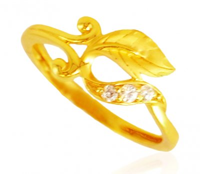 22K Gold Signity Studded Ring ( Ladies Signity Rings )
