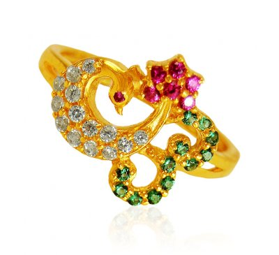 22Kt Gold Ladies Ring ( Ladies Rings with Precious Stones )