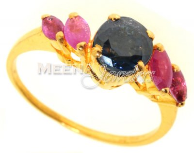 Gold Ring with Emerald, Sapphire and Ruby ( Ladies Rings with Precious Stones )