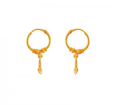 22k Gold Bali Earrings ( Hoop Earrings )