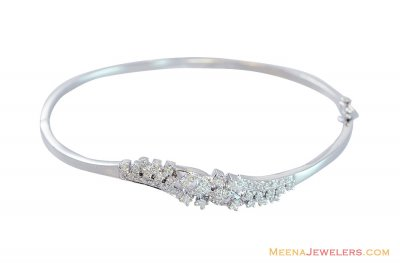 White Gold Diamond Studded Bangle ( Diamond Bracelets )