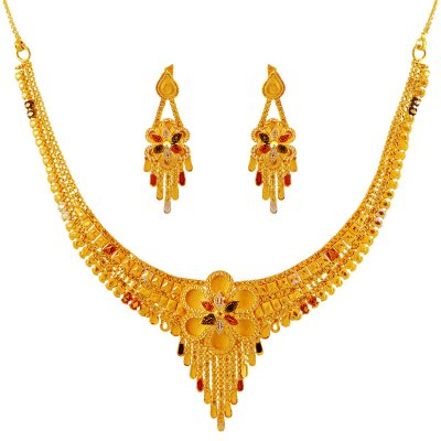 Three Tone Gold Necklace Set ( 22 Kt Gold Sets )