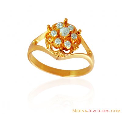 Fancy Signity Floral Ring 22K ( Ladies Signity Rings )