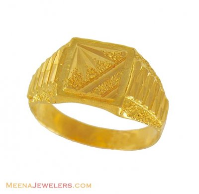 22k Mens Yellow Gold Ring ( Mens Gold Ring )