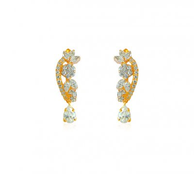 Designer 22K Gold CZ Earrings ( Clip On Earrings )