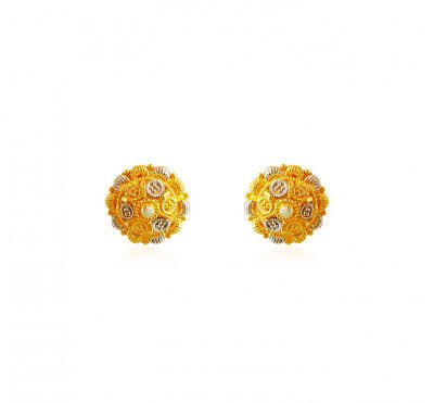 Two Tone Circle Earrings ( 22 Kt Gold Tops )
