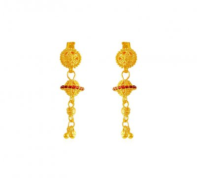 22K Traditional Filigree Earrings  ( 22 Kt Gold Tops )