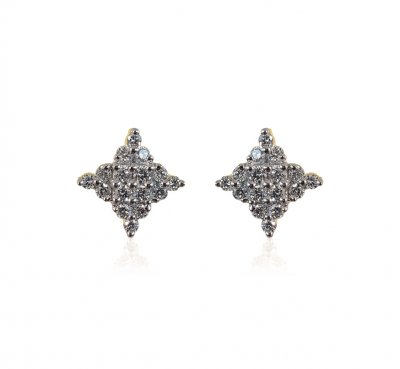 18K Gold Diamond Ladies Earrings ( Diamond Earrings )