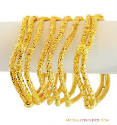 gold wavy bangles (set of 6) ( Set of Bangles )