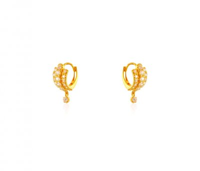 22K Gold CZ Clip On Earrings ( Clip On Earrings )