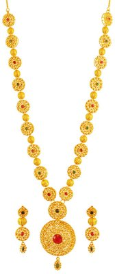 22K Gold Long Necklace Set ( Gold Designer Sets )