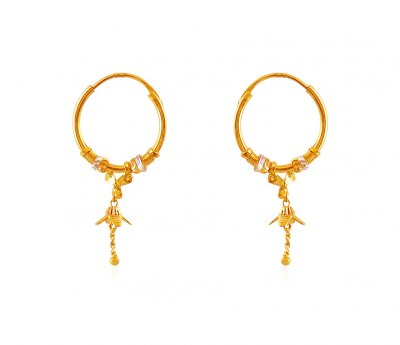 22k Gold Two Tone Hoop ( Hoop Earrings )
