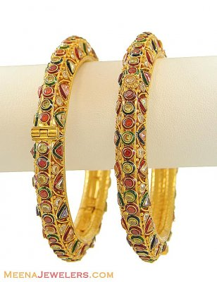 22K Gold Antique Kadas (2PC) ( Kadas )