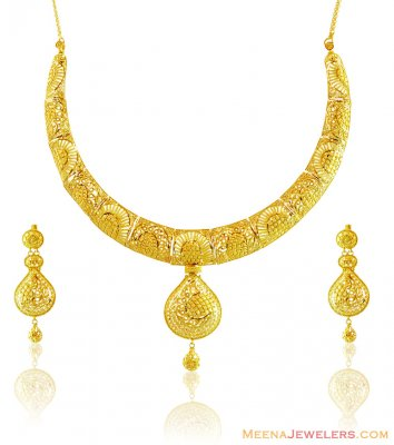 22k Filigree Designer Necklace Set ( 22 Kt Gold Sets )