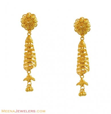 22k Yellow Gold Fancy Earrings ( 22Kt Gold Fancy Earrings )
