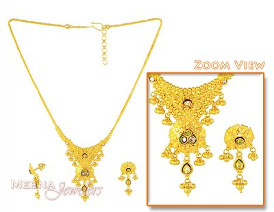 Gold Indian Necklace Set ( 22 Kt Gold Sets )