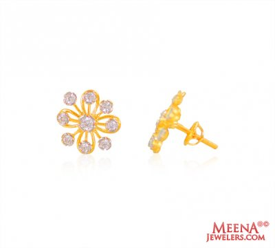 Gold Tops with CZ (22 Karat) ( Signity Earrings )