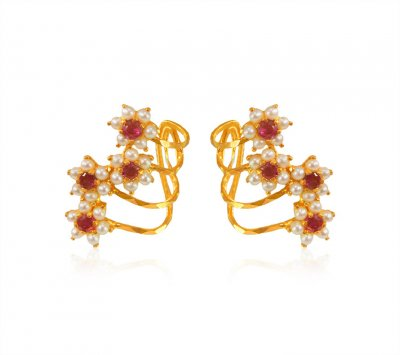22K Gold Ruby With Pearl Earrings ( Precious Stone Earrings )