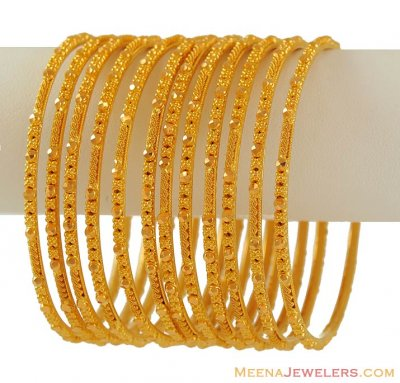 Gold Bangles set (6 pcs) ( Set of Bangles )