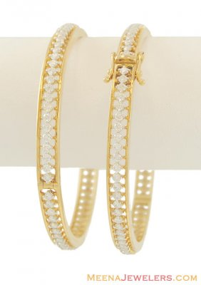 Yellow Gold Fancy Diamond Bangles(2 pcs) ( Diamond Bangles )