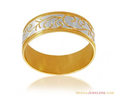 18K Two Tone Fancy Band ( Wedding Bands )