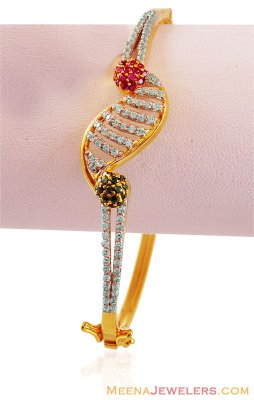 Fancy Studded Bangle 22k Gold  ( Stone Bangles )