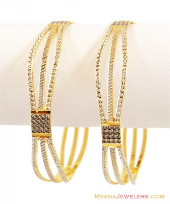22K Rhodium Plated Bangles 1 pc only ( Two Tone Bangles )