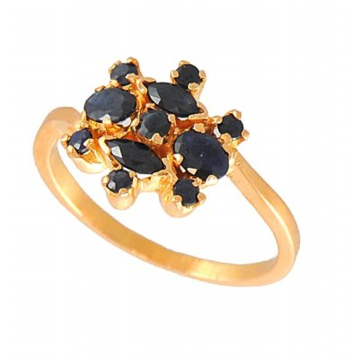 Gold Ring with Sapphire ( Ladies Rings with Precious Stones )