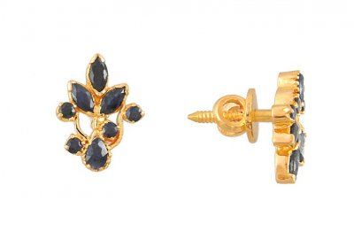 22K Gold Sapphire Tops ( Precious Stone Earrings )