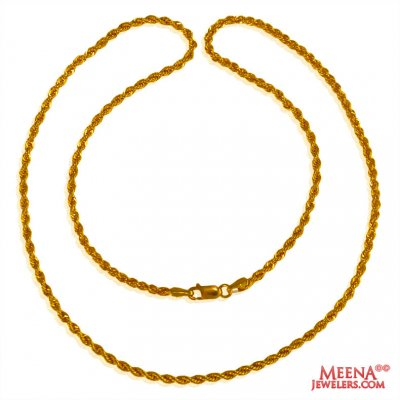 22k Fancy Hollow Rope Chain (16 in) ( Plain Gold Chains )