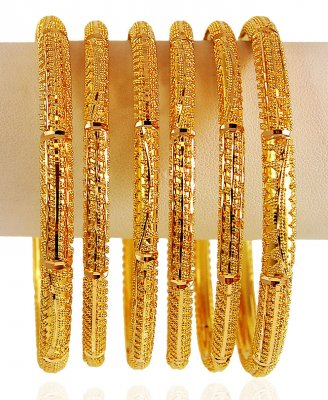 22 Karat Gold Bangles Set (6 PCs) ( Set of Bangles )