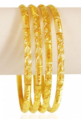 22K Gold Machine Bangles Set ( Set of Bangles )