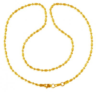 22kt Gold Rice balls Chain ( 22Kt Gold Fancy Chains )