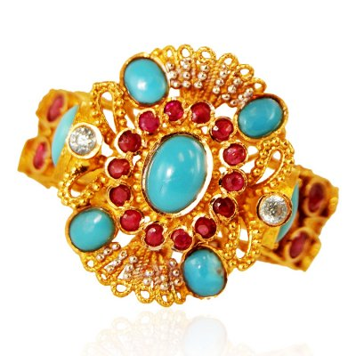 22K Gold Antique Turquoise  Ring ( Ladies Rings with Precious Stones )