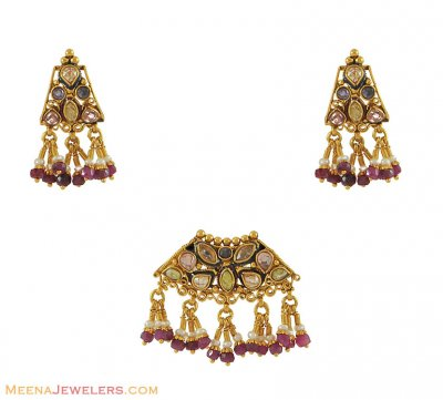 Indian Gold Pendant Set ( Antique Pendant Sets )