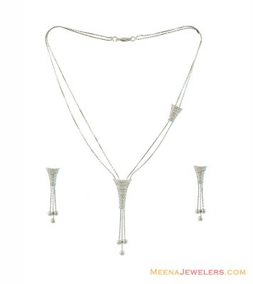 18k White Gold Necklace Set ( White Gold Sets )