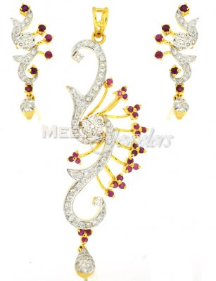 Diamond Pendant set with Rubies ( Diamond Pendant Sets )