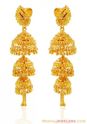 Gold Layered Jhukmi Earrings  ( 22Kt Gold Fancy Earrings )