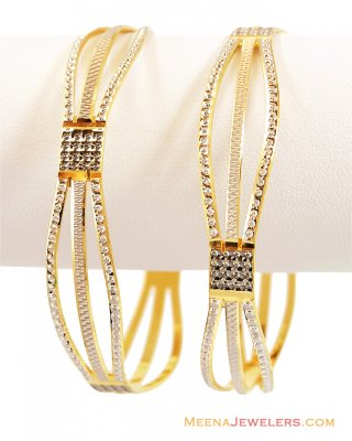 22K Designer Rhodium Bangles (2 pc) ( Two Tone Bangles )