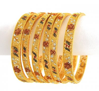 Multi Tone Bangle (set of 6) ( Set of Bangles )